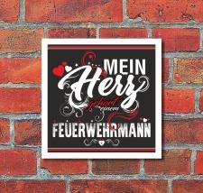 Schild Mein Herz gehört einem Feuerwehrmann Geschenk...