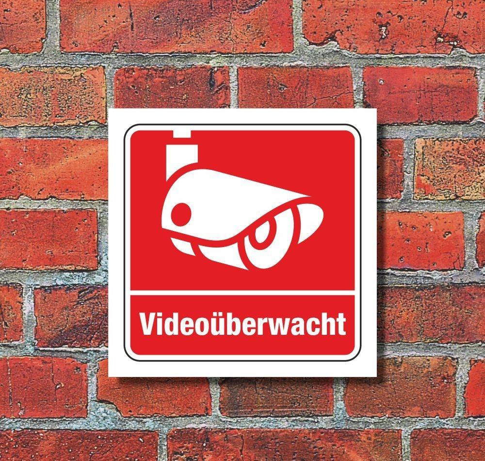 Schild T/ürschild 240 x 80 mm Aluminiumschild selbstklebend Ofform Design Nr.26012-S Video /überwacht