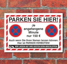 Schild Parkverbot Parken verboten Halteverbot 150 Euro 3...