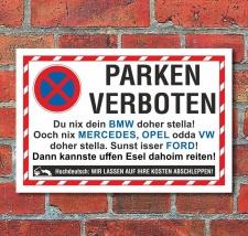 Schild Parkverbot Parken verboten Halteverbot Automarken...