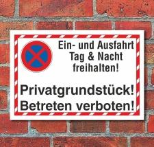 Schild Parkverbot Ein- und Ausfahrt freihalten...