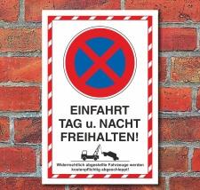 Schild Parkverbot Halteverbot Ein- und Ausfahrt Hochkant...