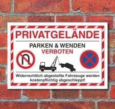 Schild Parkverbot Privatgelände wenden und parken...