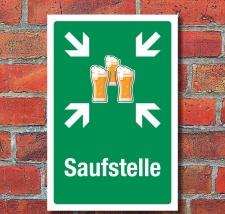 Schild Saufstelle Sammelstelle Bier Saufen Geschenk...