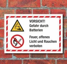 Kombischild Gefahr Batterien Feuer Licht Rauchen verboten...