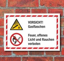 Kombischild Vorsicht Gasflaschen Feuer Licht Rauchen...