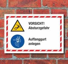 Kombischild Vorsicht Absturzgefahr Auffanggurt anlegen 3...