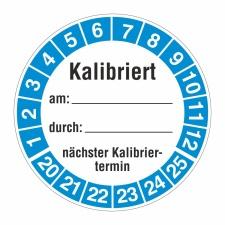 Prüfplakette 20-25, Kalibriertes Schreibfeld...