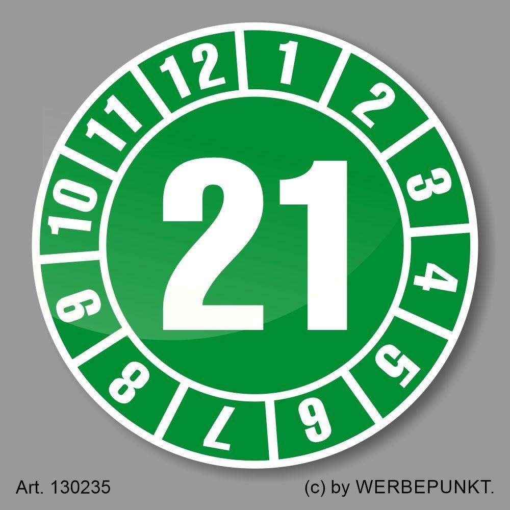 Ø 25 mm Prüfplakette /'21 Jahresplakette Siegel Aufkleber BGR UVV BGV Wartung