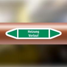 Rohrleitungskennzeichnung Aufkleber Etikett Heizung Vorlauf DIN 2403 Wasser - 75 x 15 mm / 10 Stück