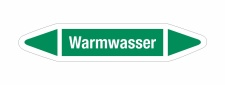 Rohrleitungskennzeichnung Aufkleber Etikett Warmwasser...
