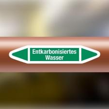 Rohrleitungskennzeichnung Aufkleber Entkarbonisiertes...