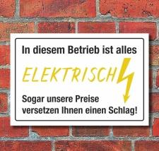 Schild Alles elektrisch Preise versetzen Schlag...