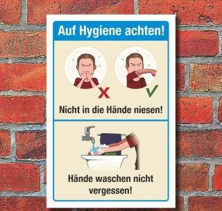 Schild Hygiene Armbeuge Niesen Husten Hände waschen 3 mm Alu-Verbund