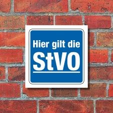 Schild Hier gilt die StVO Hinweisschild Parkplatzschild...