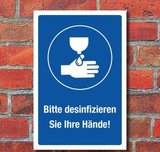 Schild Hände desinfizieren waschen Hygiene Sicherheit 3 mm Alu-Verbund 300 x 200 mm