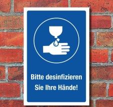 Schild Hände desinfizieren waschen Hygiene...
