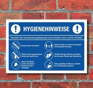 Schild Hygienehinweise Hände waschen Abstand halten Niesen - 3 mm Alu-Verbund 300 x 200 mm