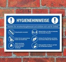 Schild Hygienehinweise Hände waschen Abstand halten...