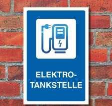 Schild Elektrotankstelle Ladestation E-Auto Elektroauto 3...