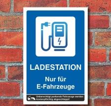 Schild Ladestation Elektrotankstelle E-Auto Elektroauto 3...