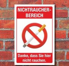 Schild Nichtraucherbereich Rauchen verboten Hinweisschild...