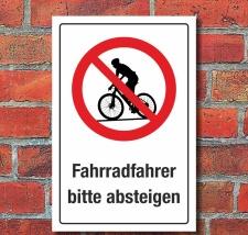 Schild Hinweisschild Fahrradfahrer bitte absteigen 3 mm...