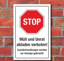 Schild Hinweisschild Müll und Unrat abladen verboten...