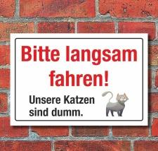 Schild Hinweisschild Bitte Langsam fahren Katze ist dumm...