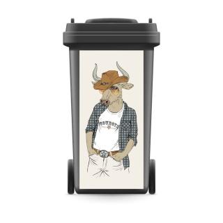 Mülltonnenaufkleber Mülltonne Mülleimer Abfalltonne Sticker Stier Cowboy Tier