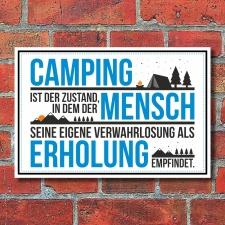 Schild Camping Zustand Mensch Erholung Geburtstag...