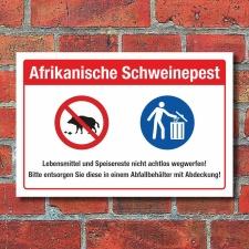 Schild Afrikanische Schweinepest Speisereste Wildschwein...