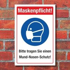 Schild Maskenpflicht Mund-Nasen-Schutz tragen...