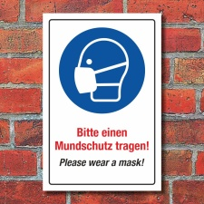 Schild Mundschutz Maskenpflicht Mund-Nasen-Schutz tragen...