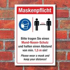 Schild Maskenpflicht Mundschutz Abstand halten Englisch 3...