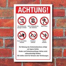 Schild Schwimmbad Hallenbad Freibad Hinweise Regeln 3 mm...
