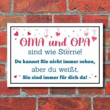 Schild Oma Opa sind wie Sterne Großeltern Geschenk...