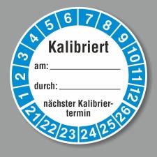 Prüfplakette 21-26, Kalibriertes Schreibfeld...