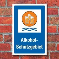 Schild Alkohol Schutzgebiet Bier Geschenk Geburtstag 3 mm...