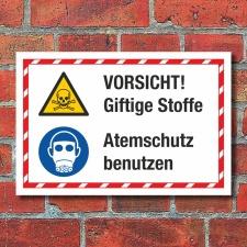 Kombischild Vorsicht Giftige Stoffe Atemschutz benutzen 3...