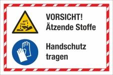 Kombischild Vorsicht Ätzende Stoffe Handschutz...
