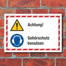 Kombischild Achtung Gehörschutz benutzen 3 mm...