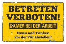 Schild Betreten verboten Gamer bei der Arbeit Geschenk 3...