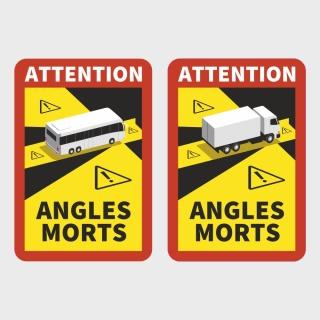 Aufkleber Magnetfolie Toter Winkel Angles Morts Frankreich Bus Wohnmobil LKW
