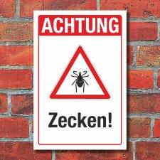 Schild Achtung Zecken Hinweisschild Gefahr 3 mm Alu-Verbund