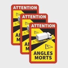 Toter Winkel Angles Morts - LKW / Magnetfolie 3 Stück