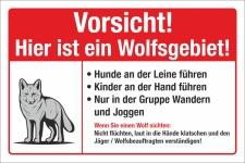 Schild Wolfsgebiet Wolf Hunde anleinen Kinder Gefahr...