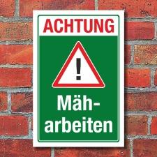 Schild Achtung Mäharbeiten Baustelle Gefahr Hinweis...