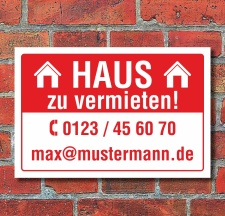 Schild Haus zu vermieten wetterfest 3 mm Alu-Verbund