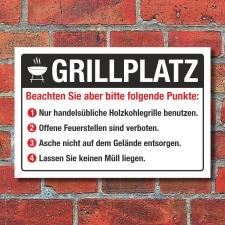 Schild Grillplatz BBQ Barbecue grillen Regeln Hinweis 3 mm Alu-Verbund